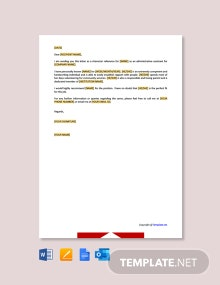 Free Character Reference Letter for Administrative Assistant
