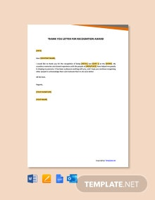 Free Thank You Letter For Recognition Award