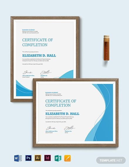 free completion certificate template  download 443  certificates in psd  illustrator  indesign