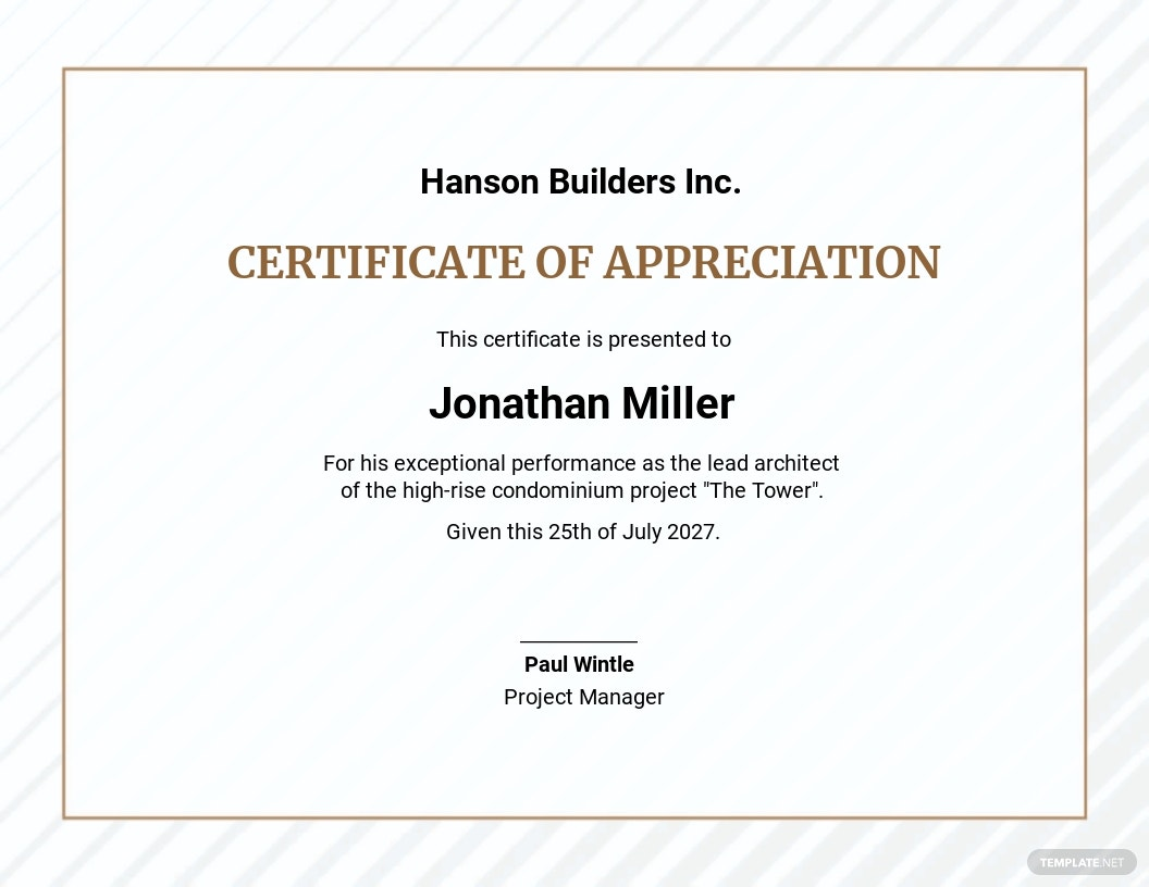 Project Management Certificate Template
