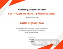 Quality Management Certificate Template