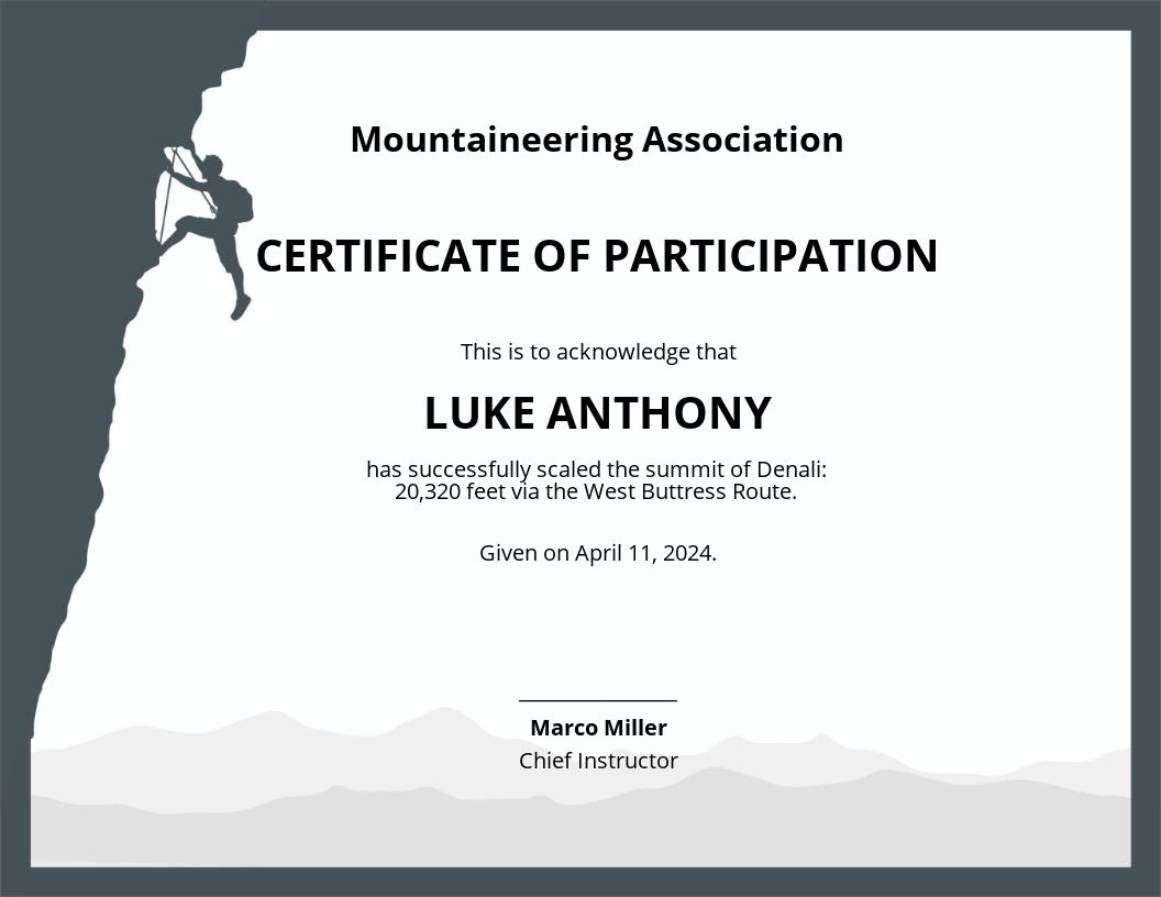 Rock Climbing Certificate Template