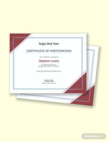 Rugby Certificate Template