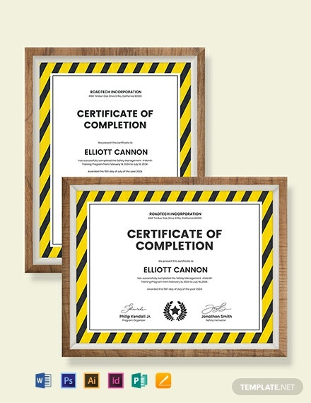 Safety Management Certificate Template