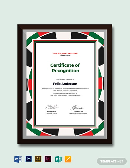 Shooting Certificate Template