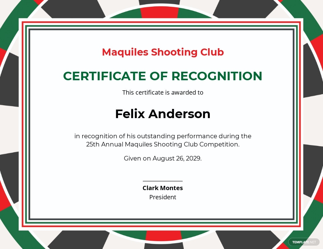Shooting Certificate Template [Free JPG] - Google Docs, Illustrator, InDesign, Word, Apple Pages, PSD, Publisher