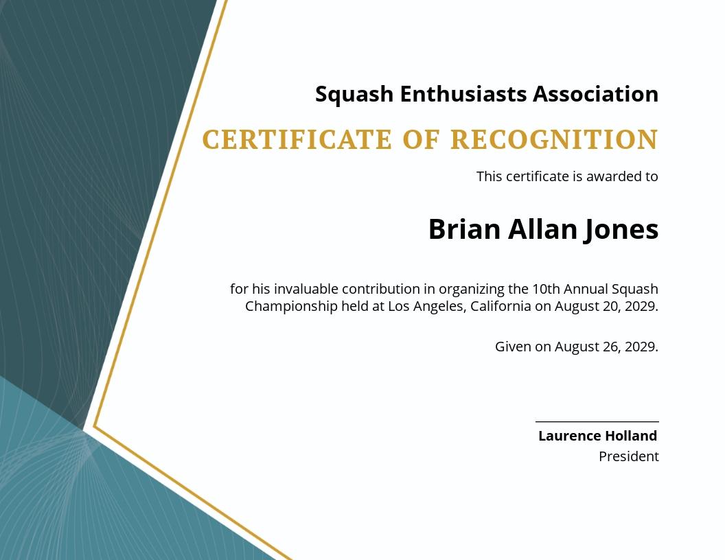 Squash Certificate Template
