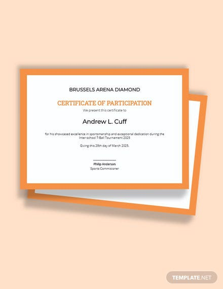 T-Ball Certificate Template