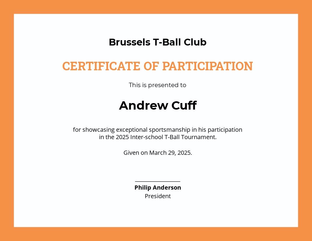 T-Ball Certificate Template