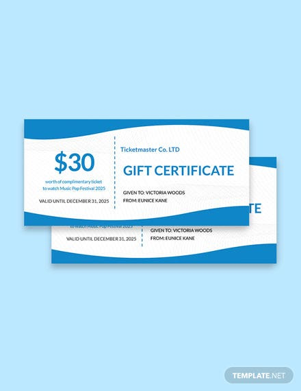 Ticketmaster Gift Certificate Template