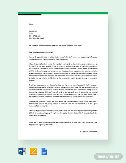 Free Character Letter of Recommendation for Court