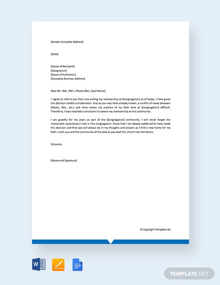 Free Church Membership Termination Letter
