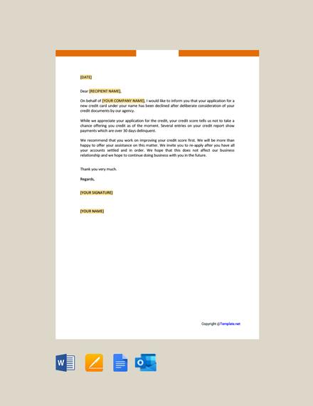 Free Credit Decline Letter
