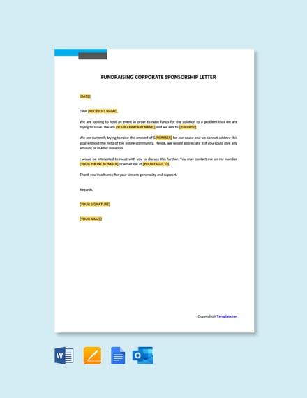 Free Fundraising Corporate Sponsorship Letter
