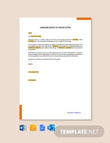 Free Landlord Notice To Vacate Letter