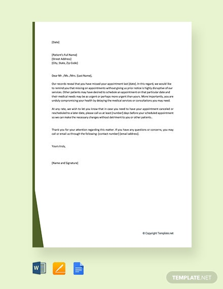 Free Missed Appointment Letter to Patient