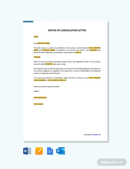 Free Notice of Cancellation Letter