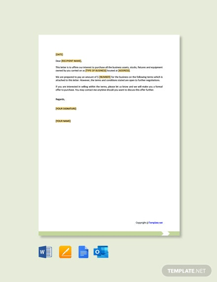 Free Business Purchase Offer Letter