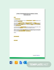 Free Letter Of Recommendation For Medical School From Employer