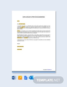 Free Hotel Apology Letter for Housekeeping