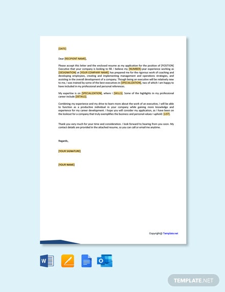 Job Application Letter for Executive