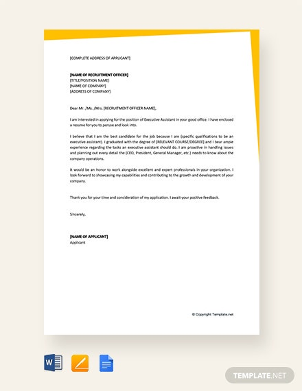 Job-Application-Letter-for-Executive-istant Technical Istant Application Letter Free Downloads on