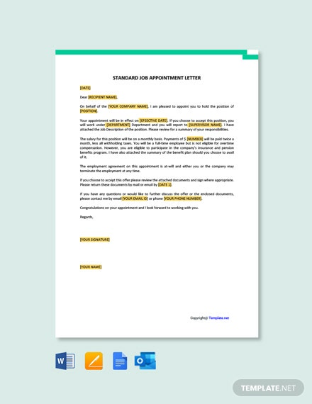 Standard Job Appointment Letter Template