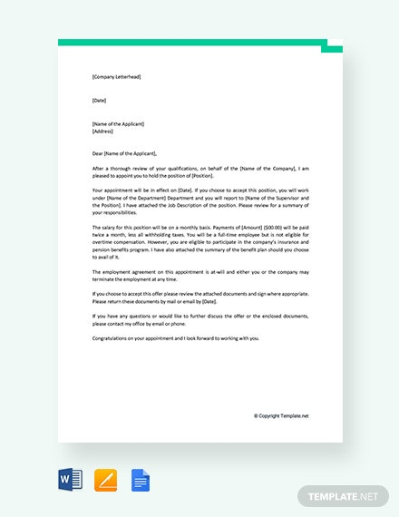 Free Standard Job Appointment Letter