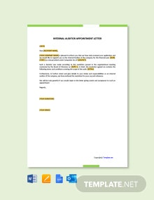 Free Internal Auditor Appointment Letter