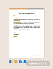 Free Offer Letter for Business Proposal
