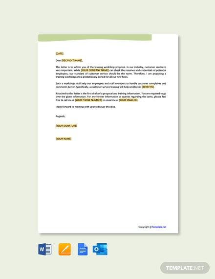 Customer Service Training Proposal Letter Template
