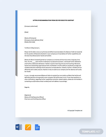 Free Letter Of Recommendation From Ceo For Executive Assistant