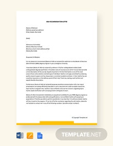 Free MBA Recommendation Letter