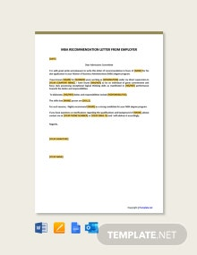 Free Mba Recommendation Letter From Employer