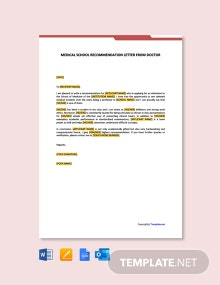 Free Medical School Recommendation Letter From Doctor