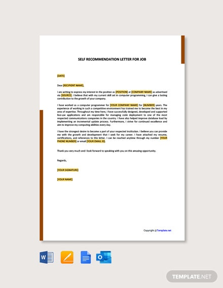 Free Self Recommendation Letter For Job