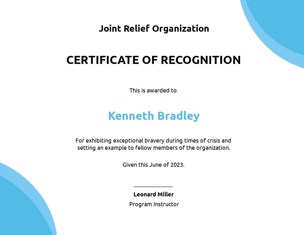 Bravery Award Certificate Example