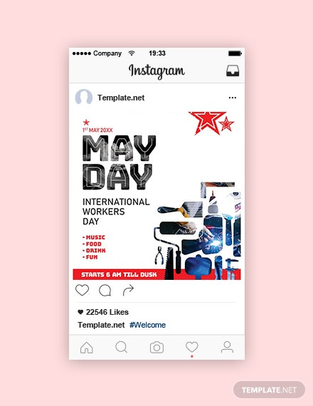 Free May Day Instagram Post Template