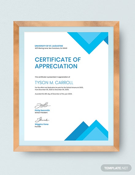 Certificate of Appreciation for Student Download