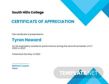Certificate of Appreciation for Student Template