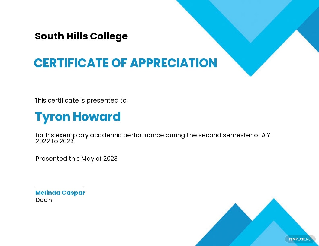 Certificate of Appreciation for Student Template.jpe