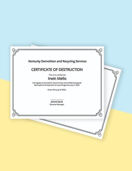 Certificate of Destruction Template
