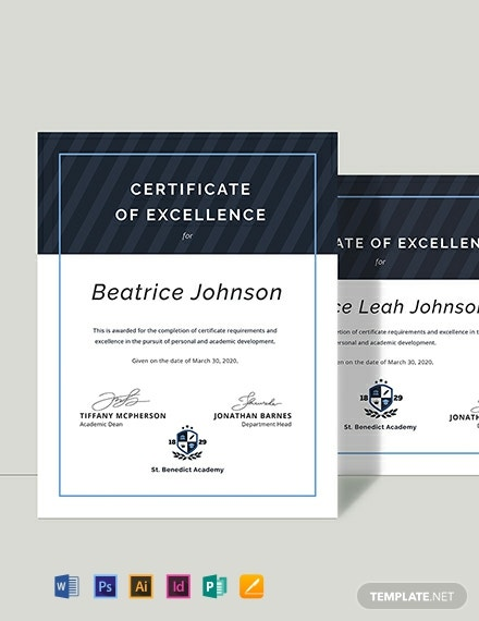 Certificate of Excellence for Student Template