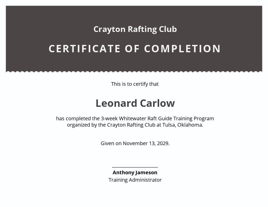 Certificate of Rafting Template