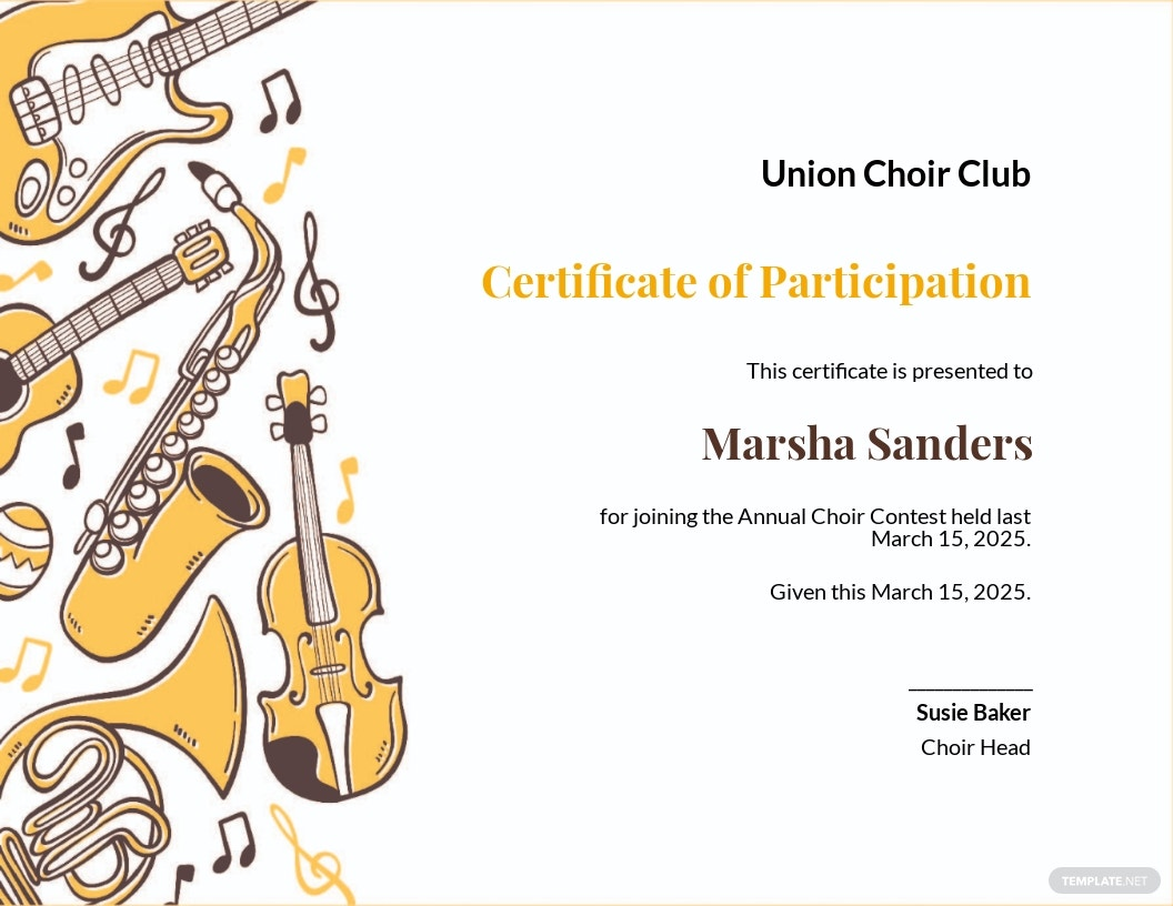 Choir Certificate of Participation Template