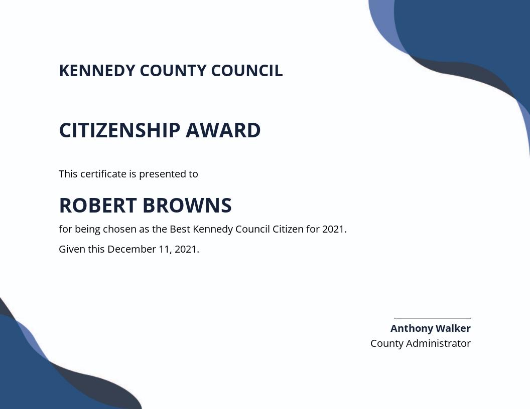Citizenship Award Certificate Template