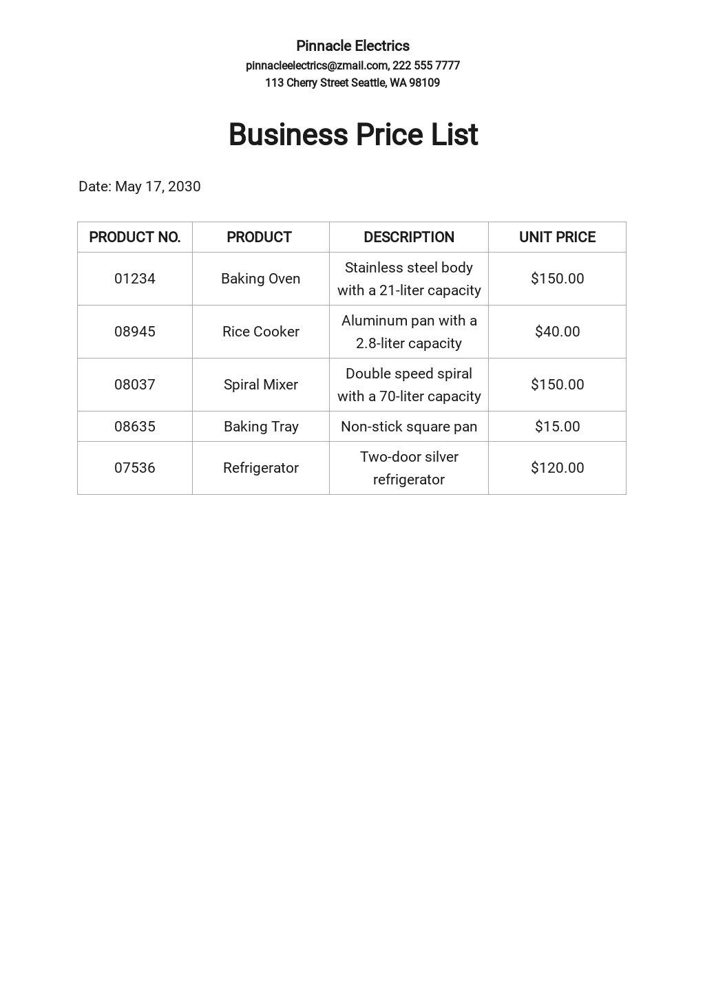 Free Business Price List.jpe