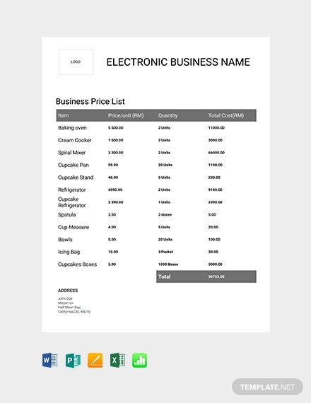 Free Business Price List