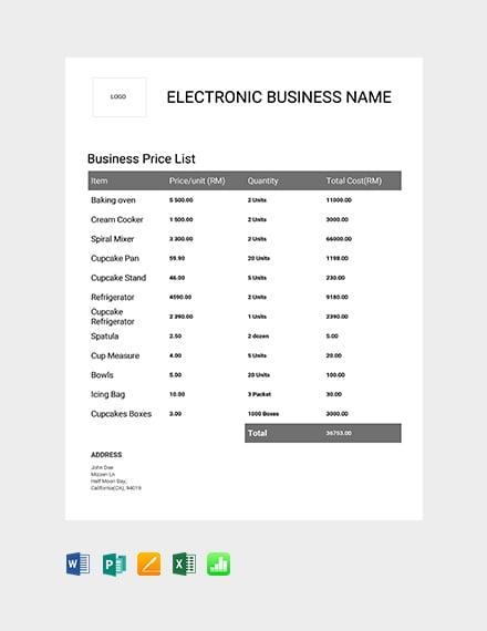 Free Business Price List