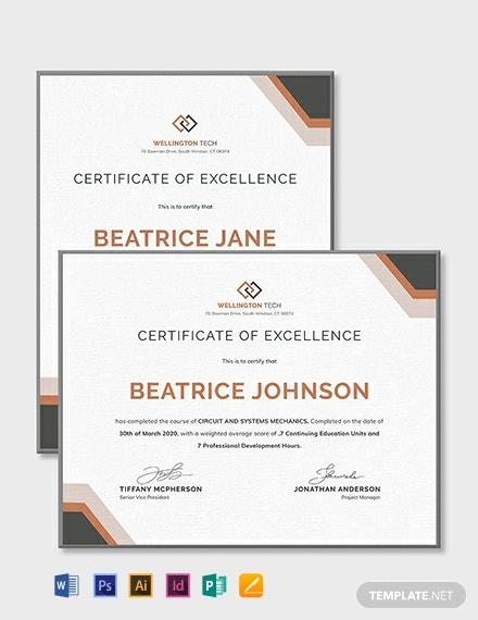 Free Company Training Certificate Template Word Psd